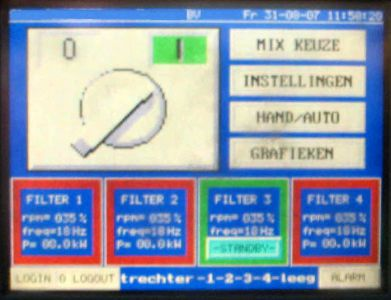 Straalcabine besturing (touchscreen)